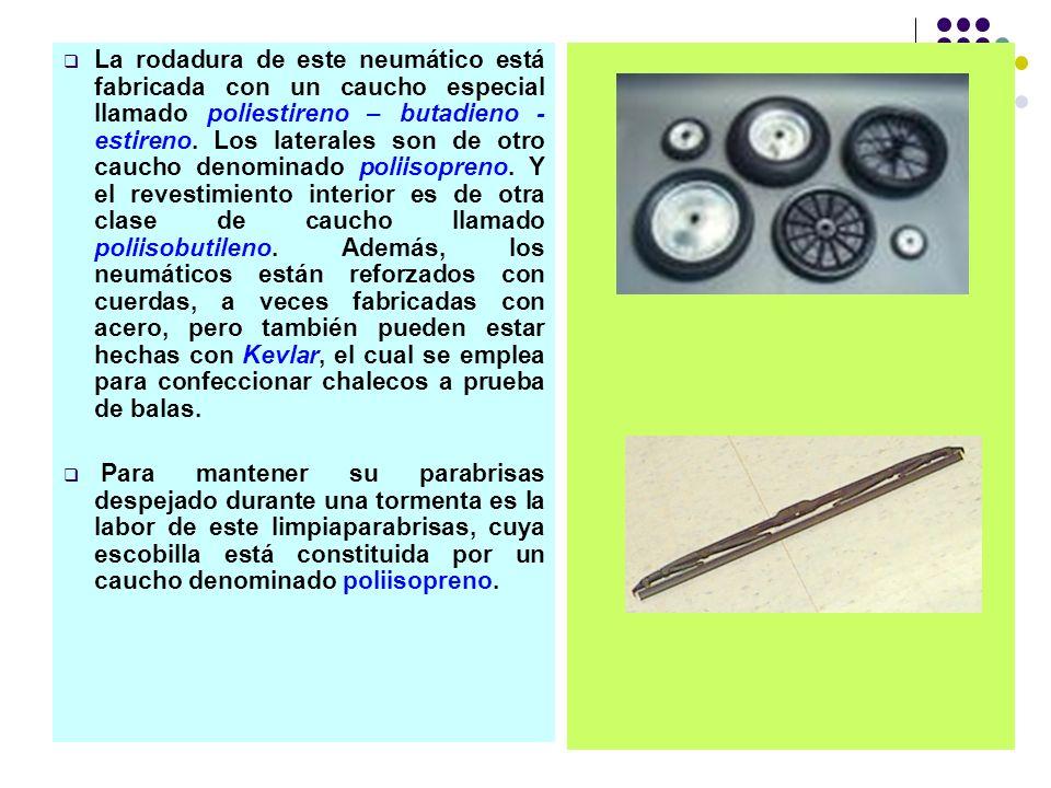 La rodadura de este neumático está fabricada con un caucho especial llamado poliestireno – butadieno - estireno. Los laterales son de otro caucho denominado poliisopreno. Y el revestimiento interior es de otra clase de caucho llamado poliisobutileno. Además, los neumáticos están reforzados con cuerdas, a veces fabricadas con acero, pero también pueden estar hechas con Kevlar, el cual se emplea para confeccionar chalecos a prueba de balas.