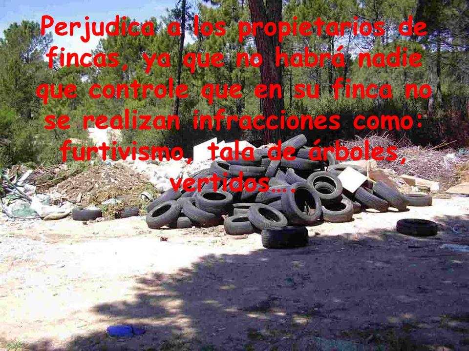 Perjudica a los propietarios de fincas, ya que no habrá nadie que controle que en su finca no se realizan infracciones como: furtivismo, tala de árboles, vertidos….