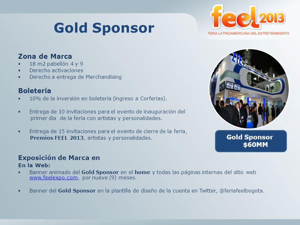 Gold Sponsor Zona de Marca Boletería Exposición de Marca en