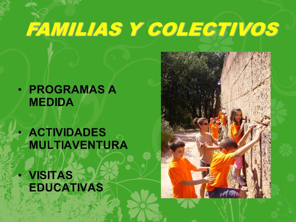 FAMILIAS Y COLECTIVOS PROGRAMAS A MEDIDA ACTIVIDADES MULTIAVENTURA