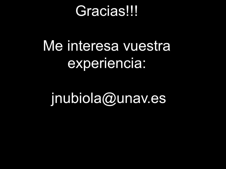 Me interesa vuestra experiencia: