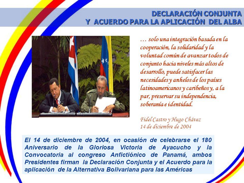 DECLARACIÓN CONJUNTA Y ACUERDO PARA LA APLICACIÓN DEL ALBA
