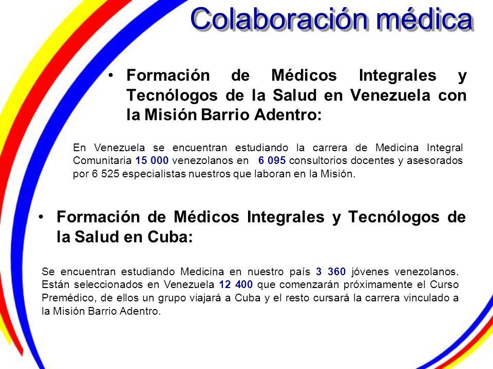 Colaboración médica Formación de Médicos Integrales y Tecnólogos de la Salud en Venezuela con la Misión Barrio Adentro: