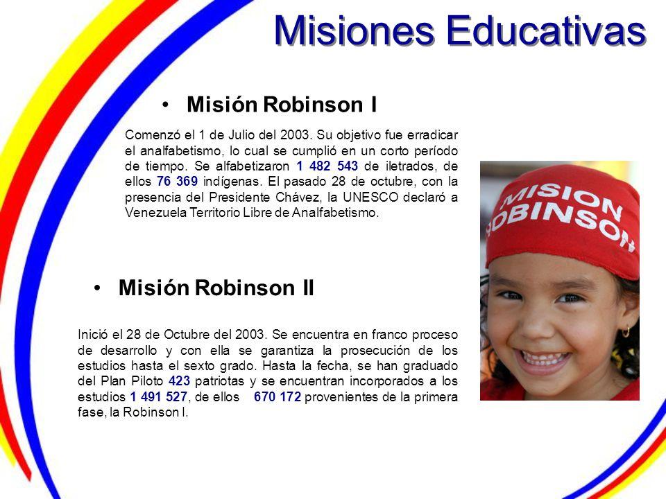 Misiones Educativas Misión Robinson I Misión Robinson II