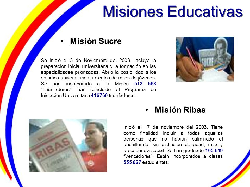 Misiones Educativas Misión Sucre Misión Ribas