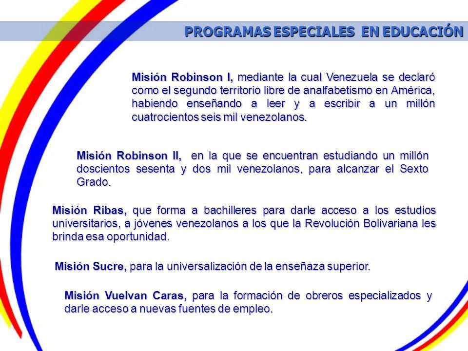 PROGRAMAS ESPECIALES EN EDUCACIÓN