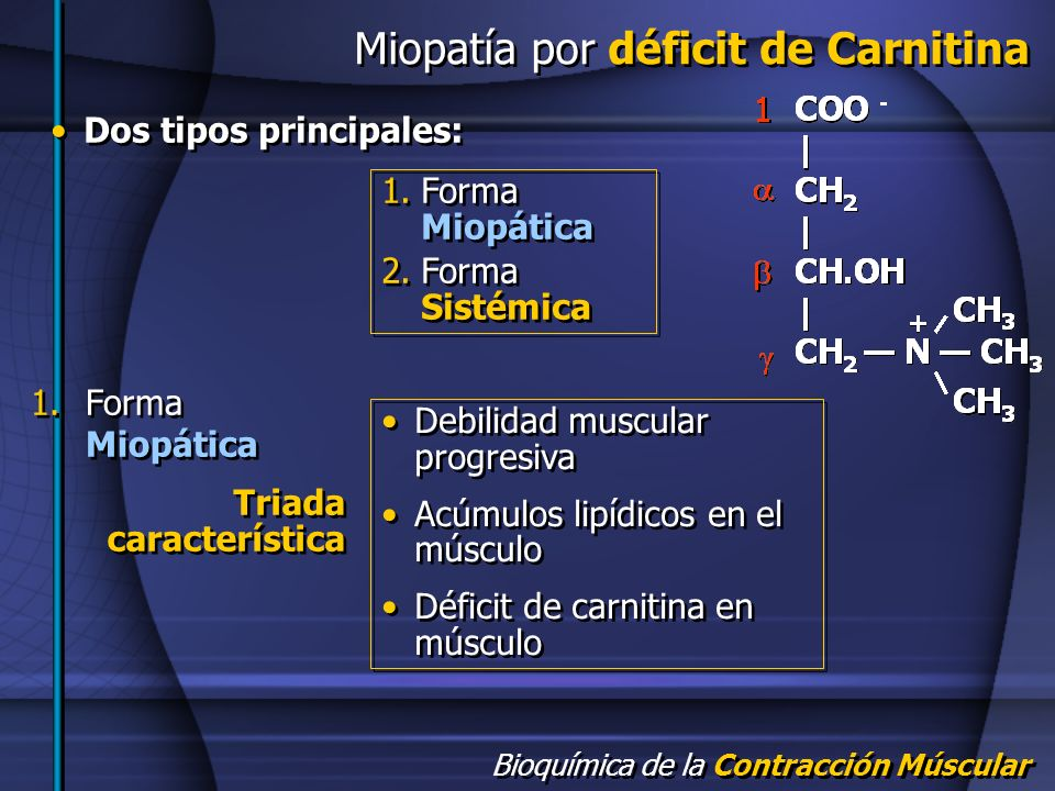 Miopatía por déficit de Carnitina