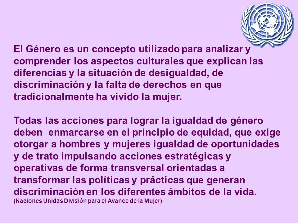 El Género es un concepto utilizado para analizar y comprender los aspectos culturales que explican las diferencias y la situación de desigualdad, de discriminación y la falta de derechos en que tradicionalmente ha vivido la mujer.