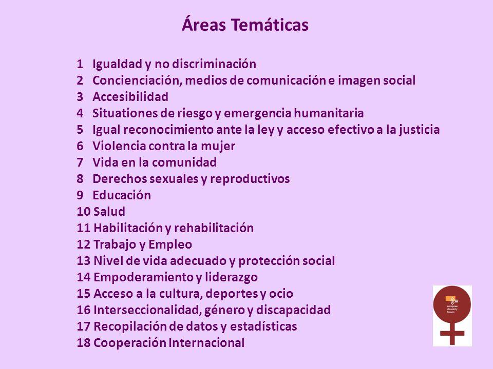Áreas Temáticas 1 Igualdad y no discriminación