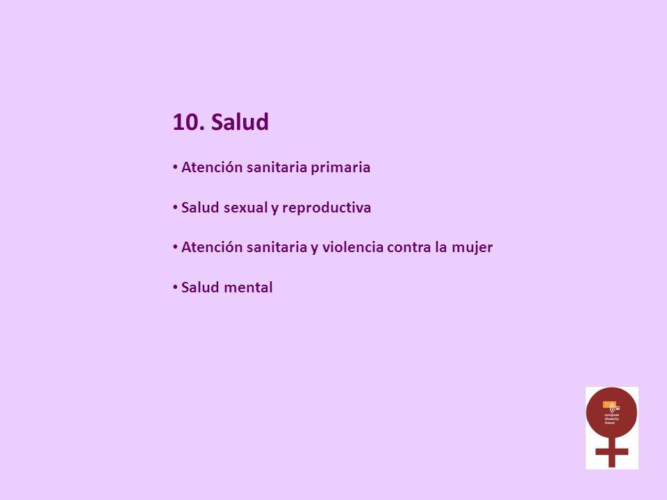 10. Salud Atención sanitaria primaria Salud sexual y reproductiva