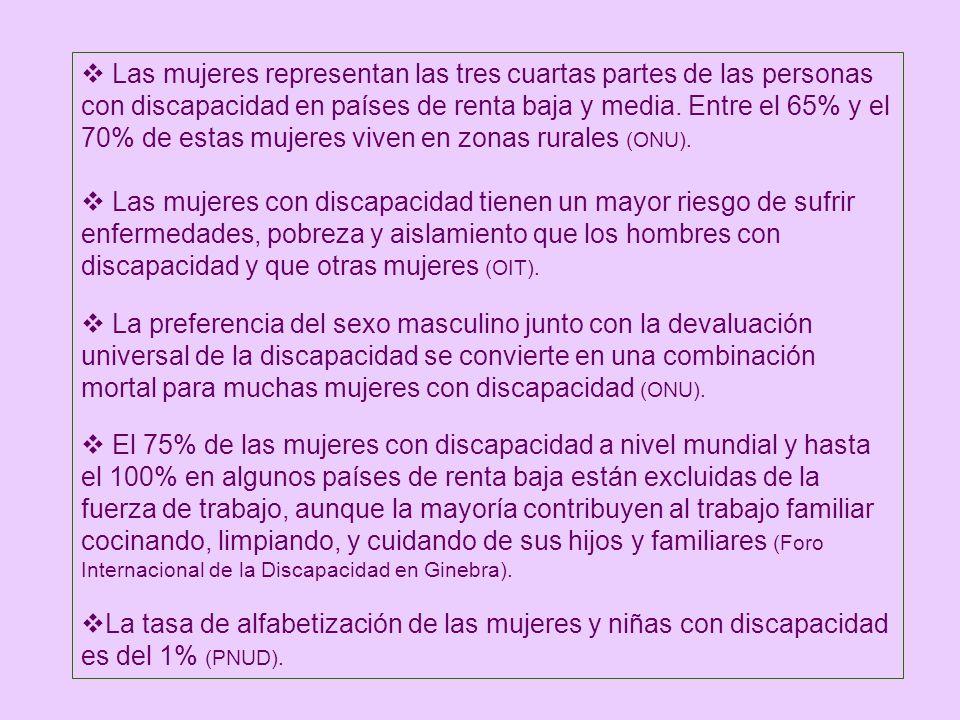 Las mujeres representan las tres cuartas partes de las personas con discapacidad en países de renta baja y media. Entre el 65% y el 70% de estas mujeres viven en zonas rurales (ONU).
