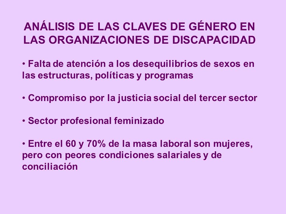 ANÁLISIS DE LAS CLAVES DE GÉNERO EN LAS ORGANIZACIONES DE DISCAPACIDAD