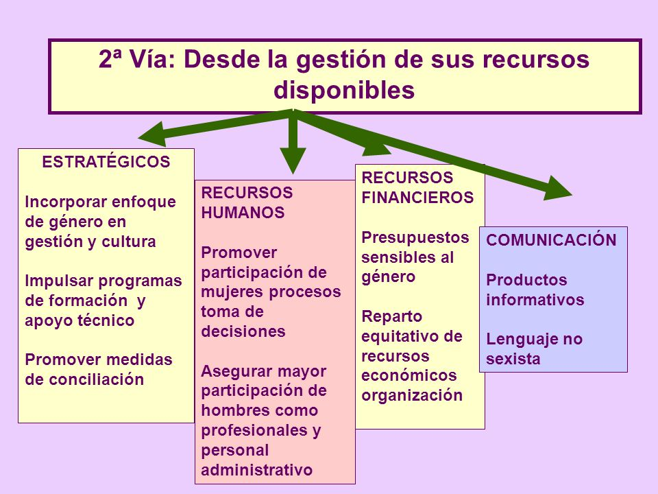 2ª Vía: Desde la gestión de sus recursos disponibles