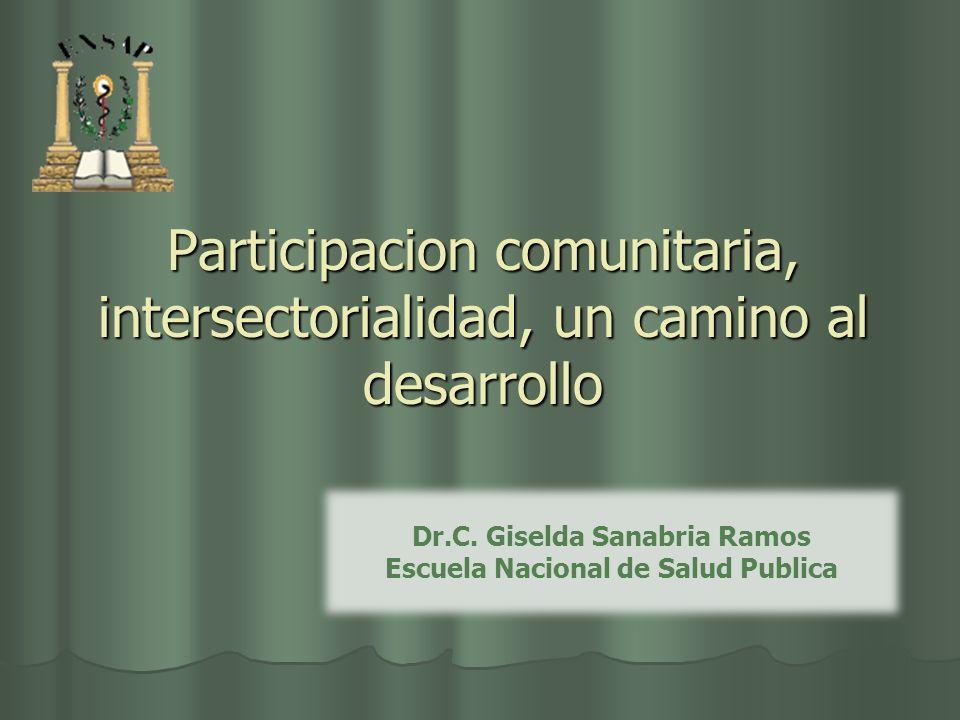 Participacion comunitaria, intersectorialidad, un camino al desarrollo