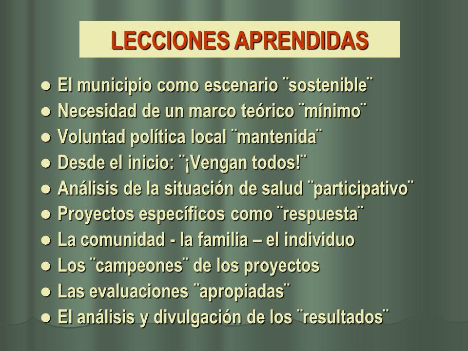 LECCIONES APRENDIDAS El municipio como escenario ¨sostenible¨