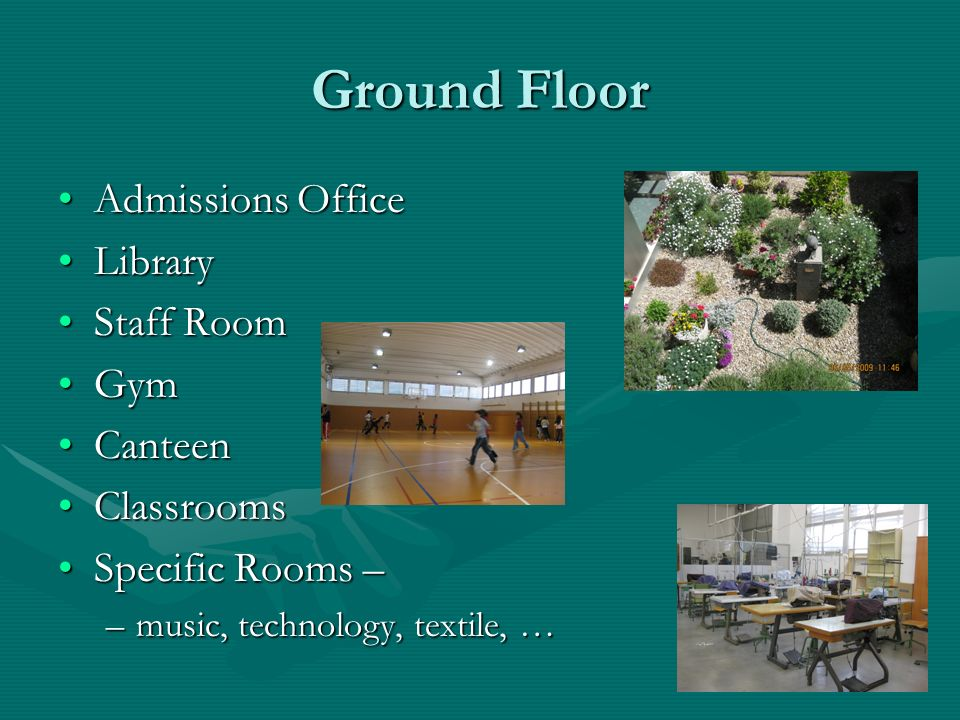 Ground Floor Admissions Office Library Staff Room Gym Canteen