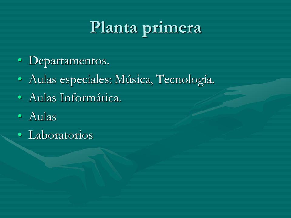 Planta primera Departamentos. Aulas especiales: Música, Tecnología.