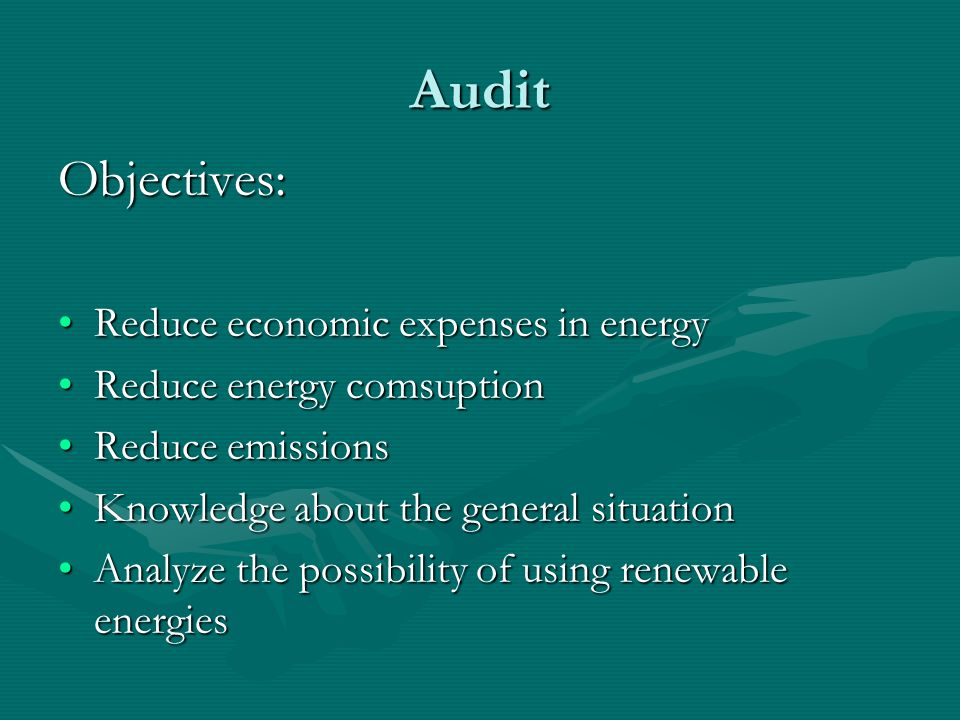 Audit Objectives: Reduce economic expenses in energy
