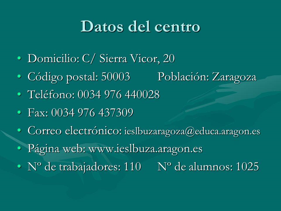 Datos del centro Domicilio: C/ Sierra Vicor, 20