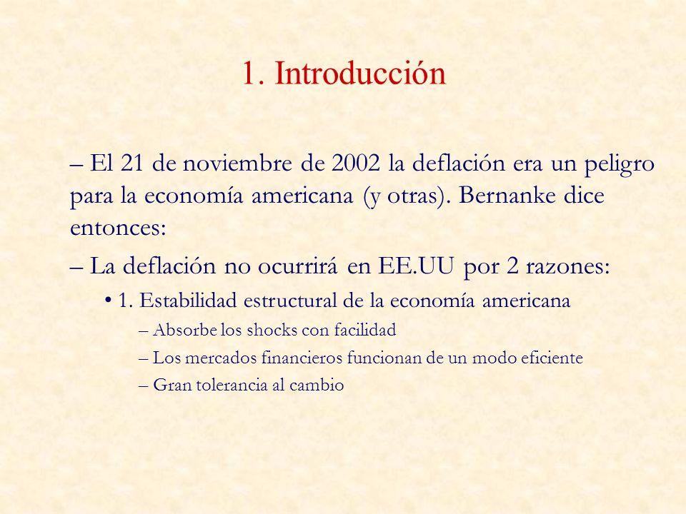 1. Introducción El 21 de noviembre de 2002 la deflación era un peligro para la economía americana (y otras). Bernanke dice entonces:
