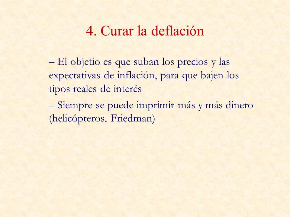 4. Curar la deflación El objetio es que suban los precios y las expectativas de inflación, para que bajen los tipos reales de interés.
