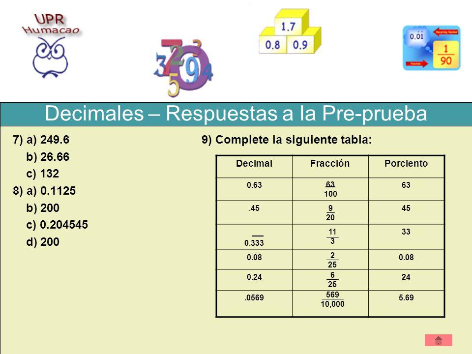 Decimales – Respuestas a la Pre-prueba