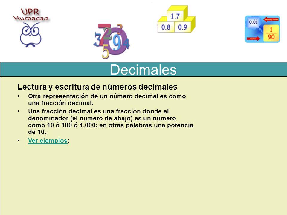 Decimales Lectura y escritura de números decimales