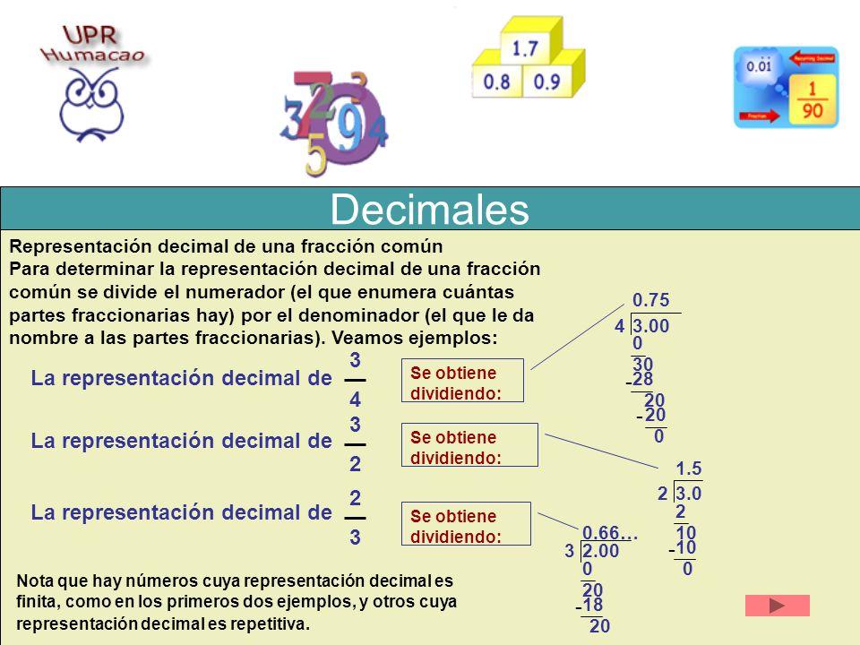 Decimales 3 4 La representación decimal de - 3 2