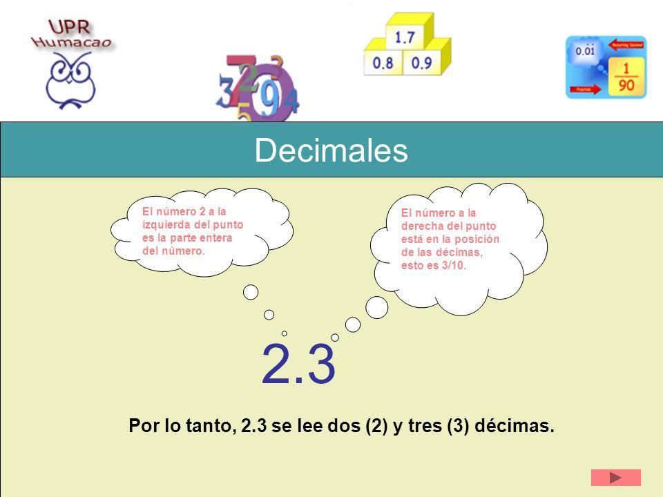 2.3 Decimales Por lo tanto, 2.3 se lee dos (2) y tres (3) décimas.