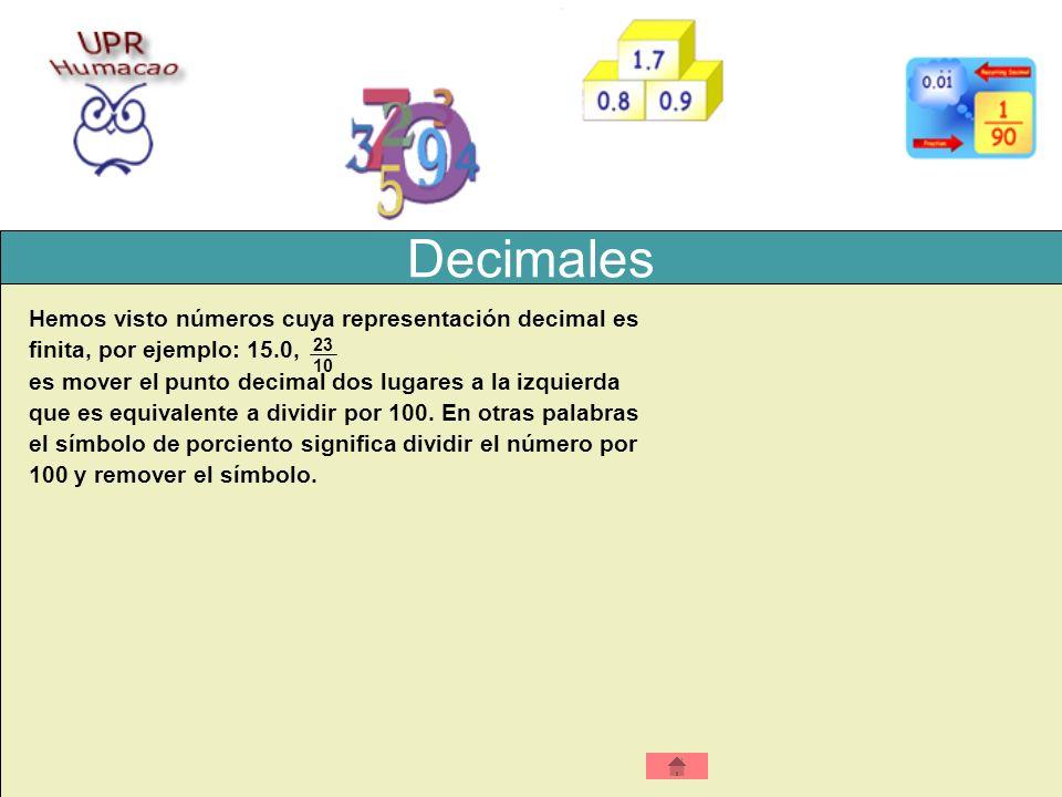 Decimales Hemos visto números cuya representación decimal es