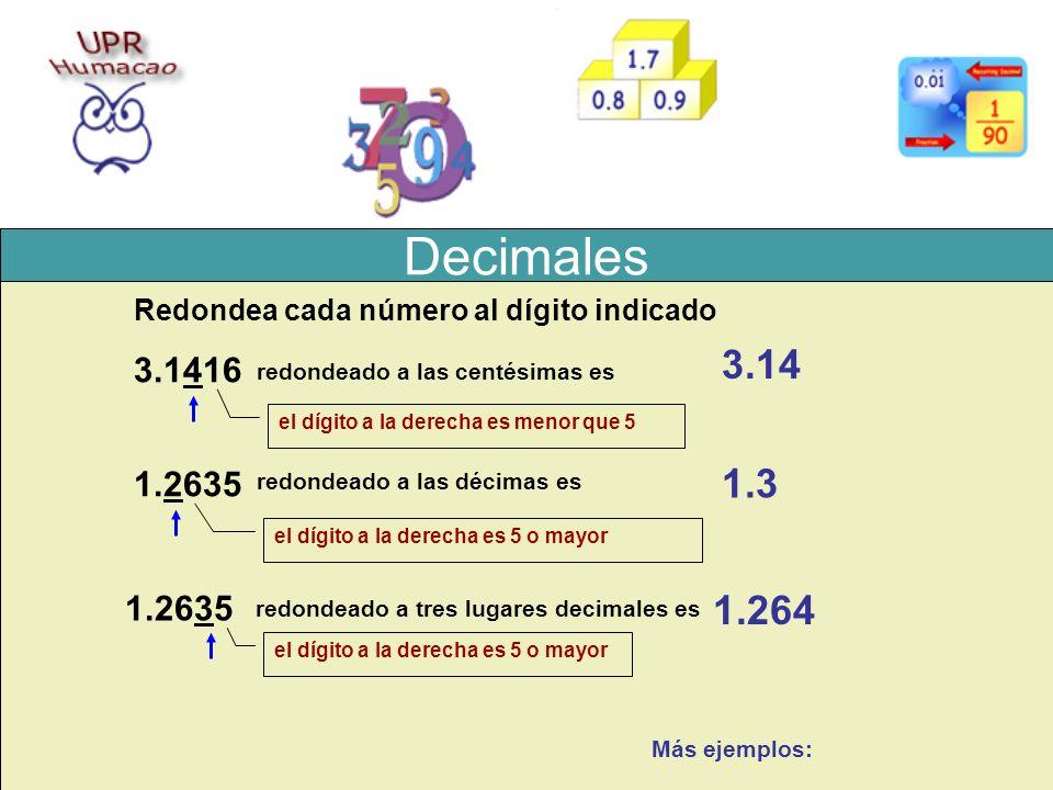 Decimales Redondea cada número al dígito indicado. 3.14. 3.1416. redondeado a las centésimas es.