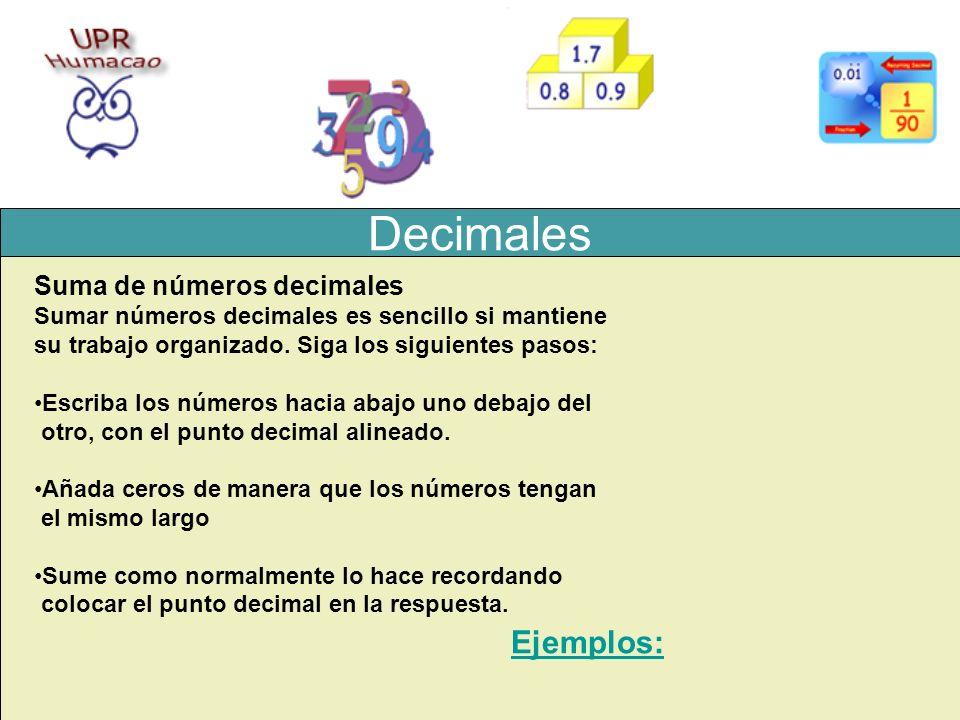 Decimales Ejemplos: Suma de números decimales