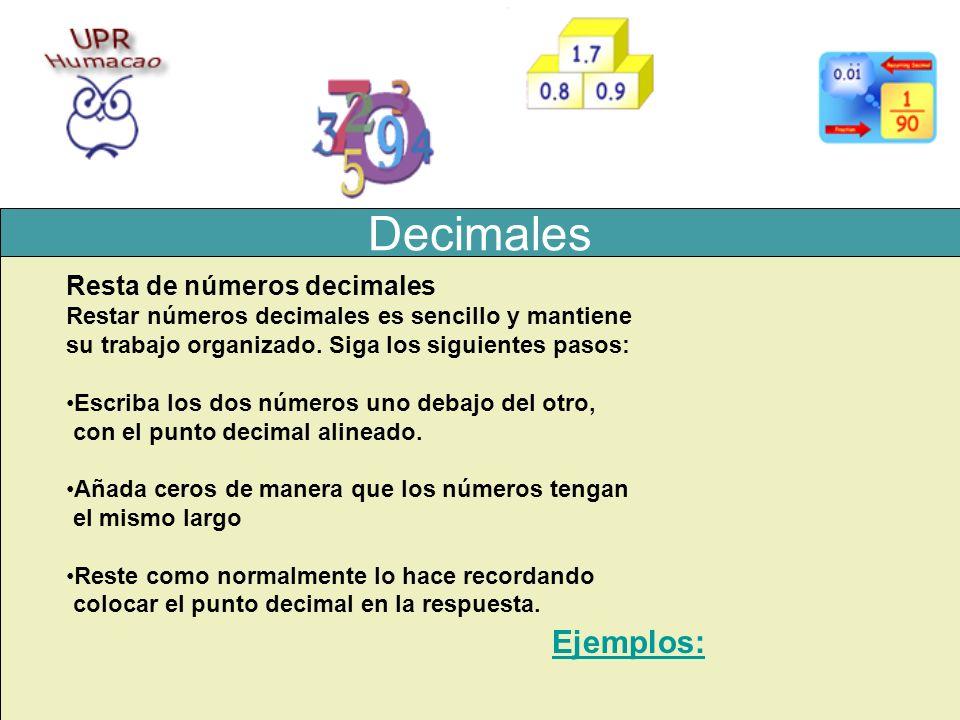 Decimales Ejemplos: Resta de números decimales