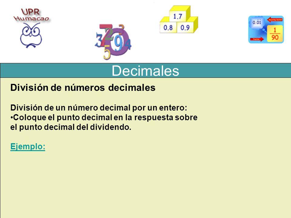 Decimales División de números decimales