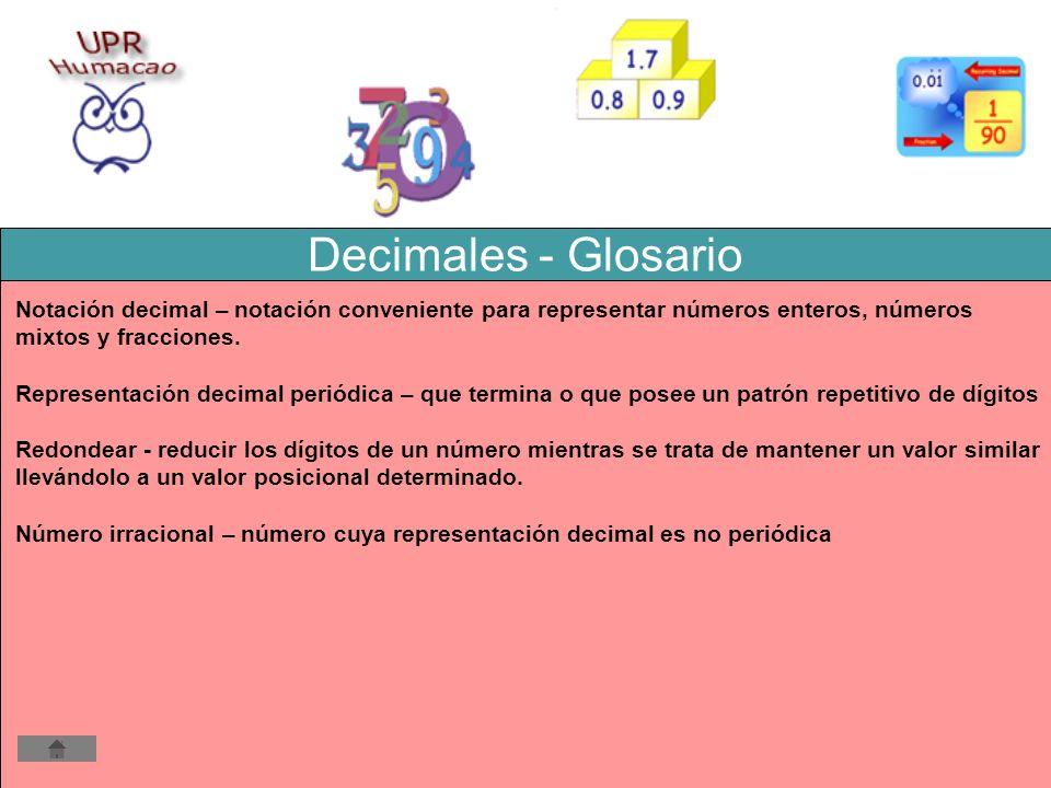 Decimales - Glosario Notación decimal – notación conveniente para representar números enteros, números.