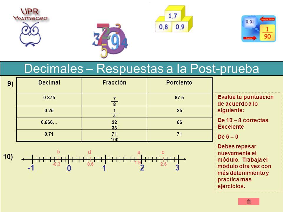 Decimales – Respuestas a la Post-prueba