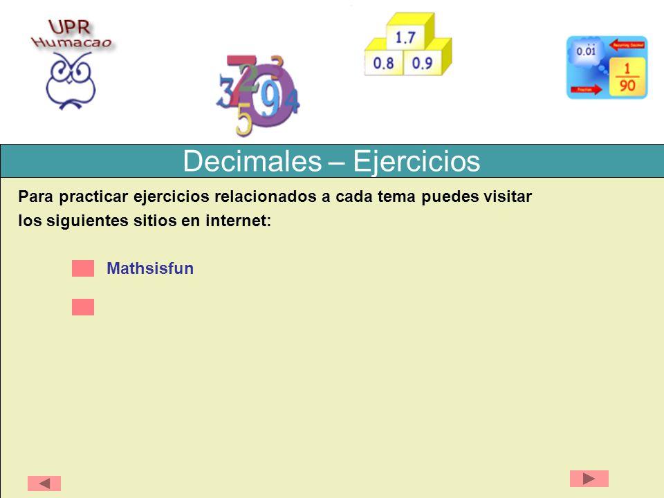 Decimales – Ejercicios