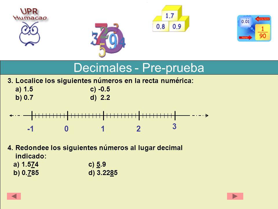 Decimales - Pre-prueba