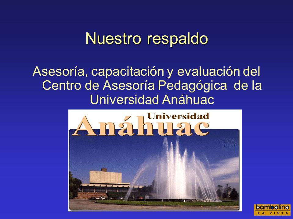Nuestro respaldo Asesoría, capacitación y evaluación del Centro de Asesoría Pedagógica de la Universidad Anáhuac.