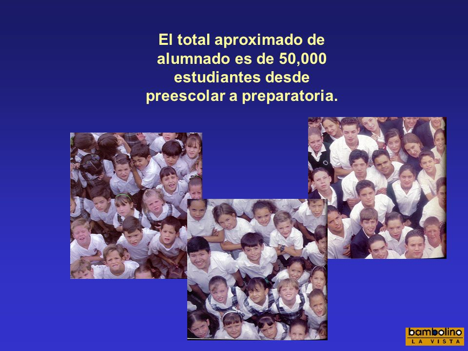 El total aproximado de alumnado es de 50,000 estudiantes desde preescolar a preparatoria.