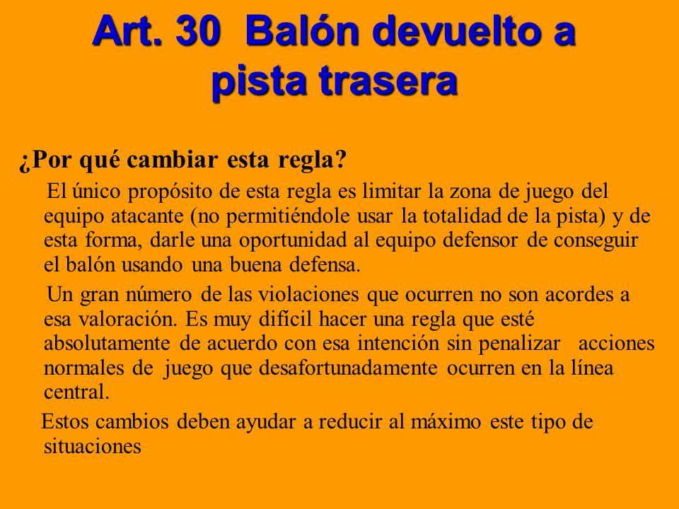 Art. 30 Balón devuelto a pista trasera