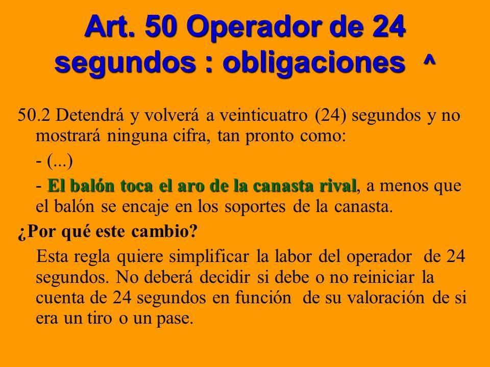 Art. 50 Operador de 24 segundos : obligaciones ^