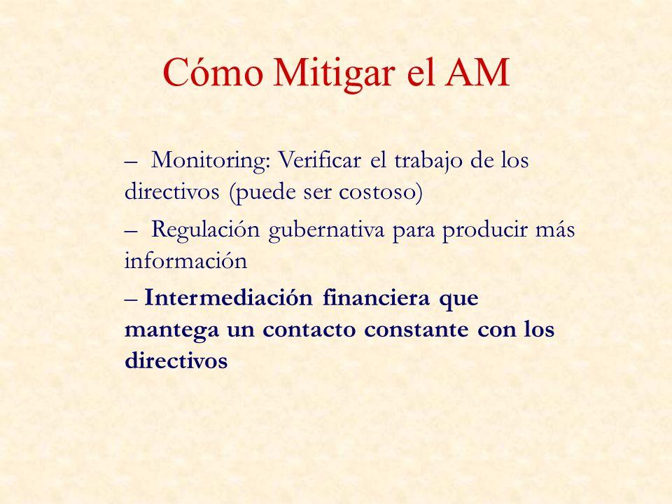 Cómo Mitigar el AMMonitoring: Verificar el trabajo de los directivos (puede ser costoso) Regulación gubernativa para producir más información.