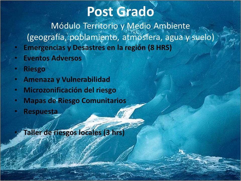 Post Grado Módulo Territorio y Medio Ambiente (geografía, poblamiento, atmósfera, agua y suelo)