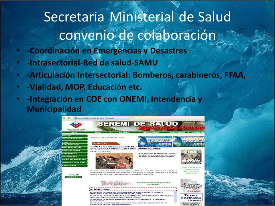 Secretaria Ministerial de Salud convenio de colaboración