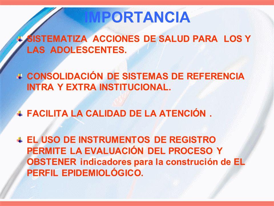 IMPORTANCIA SISTEMATIZA ACCIONES DE SALUD PARA LOS Y LAS ADOLESCENTES.