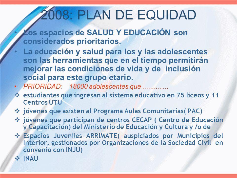 2008: PLAN DE EQUIDAD Los espacios de SALUD Y EDUCACIÓN son considerados prioritarios.