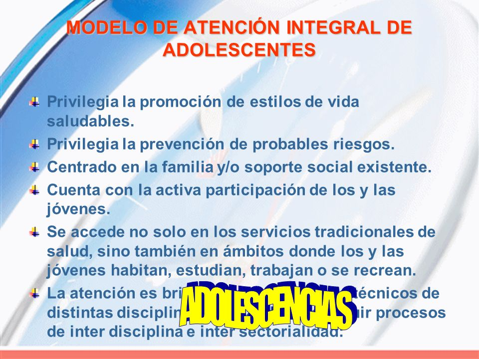 MODELO DE ATENCIÓN INTEGRAL DE ADOLESCENTES