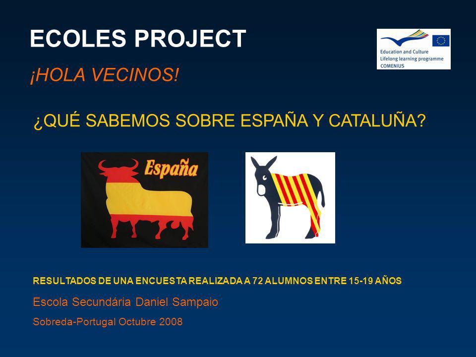 ECOLES PROJECT ¡HOLA VECINOS! ¿QUÉ SABEMOS SOBRE ESPAÑA Y CATALUÑA