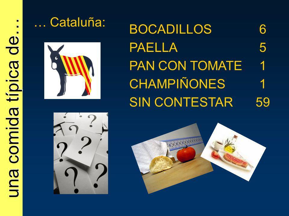 una comida típica de… … Cataluña: BOCADILLOS 6 PAELLA 5 PAN CON TOMATE